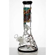 """13"""" Heavy 7MM Glass Artwork Beaker Water Bong"""